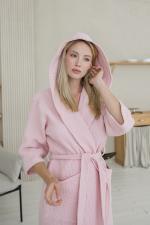 Халат с капюшоном розовый