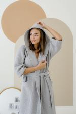 Халат с капюшоном серый